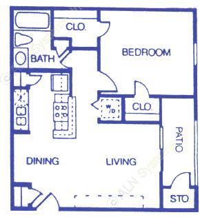 603 sq. ft. A2 floor plan