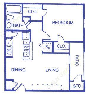 603 sq. ft. A2 floor plan