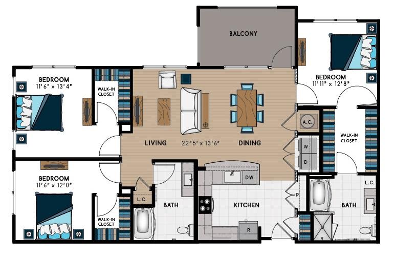 1,544 sq. ft. 3C-HC floor plan