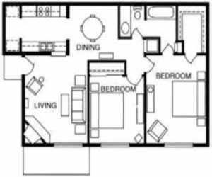 853 sq. ft. Magnolia floor plan
