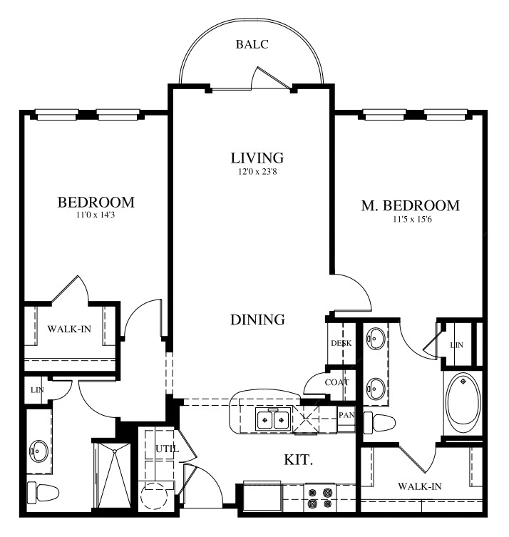 1,131 sq. ft. B1 floor plan