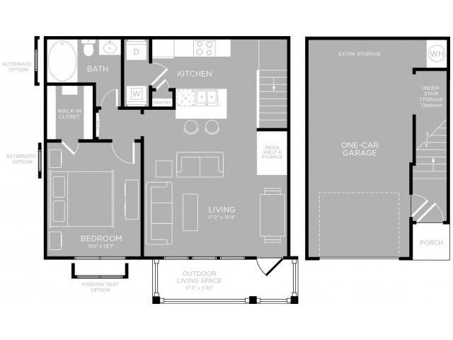 788 sq. ft. to 806 sq. ft. Zilker A4 floor plan
