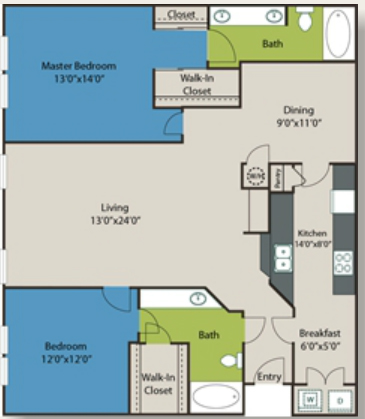 1,393 sq. ft. B3 floor plan