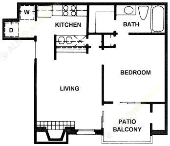 561 sq. ft. A3 floor plan