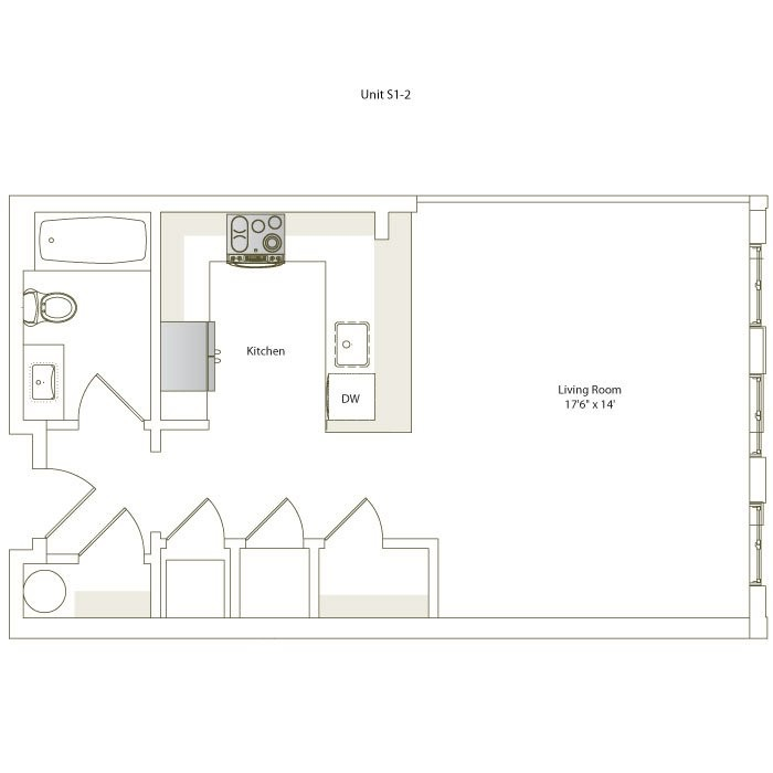 537 sq. ft. S1-2 floor plan