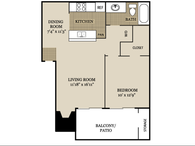 691 sq. ft. A3 floor plan