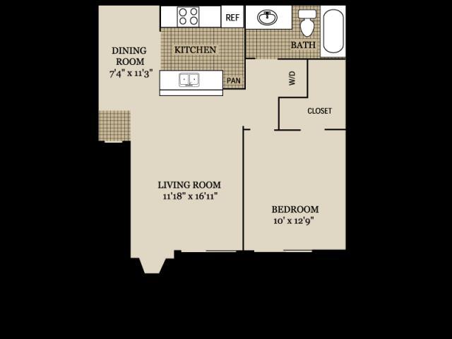691 sq. ft. A3 floor plan