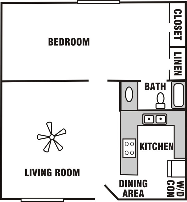 614 sq. ft. A-1 floor plan