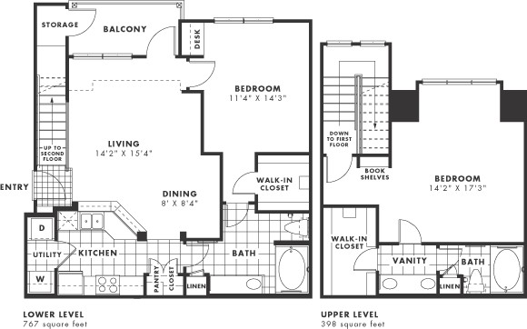 1,165 sq. ft. PH II floor plan