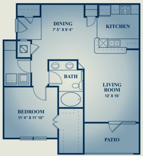 889 sq. ft. PINOT NOIR floor plan