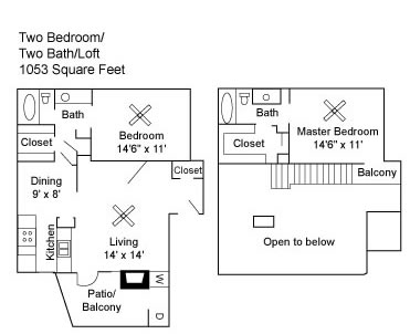 1,053 sq. ft. floor plan