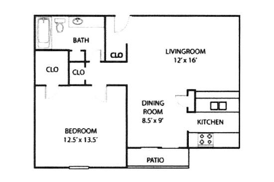712 sq. ft. A4.2 floor plan