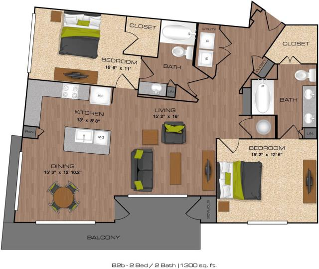 1,300 sq. ft. B2B floor plan