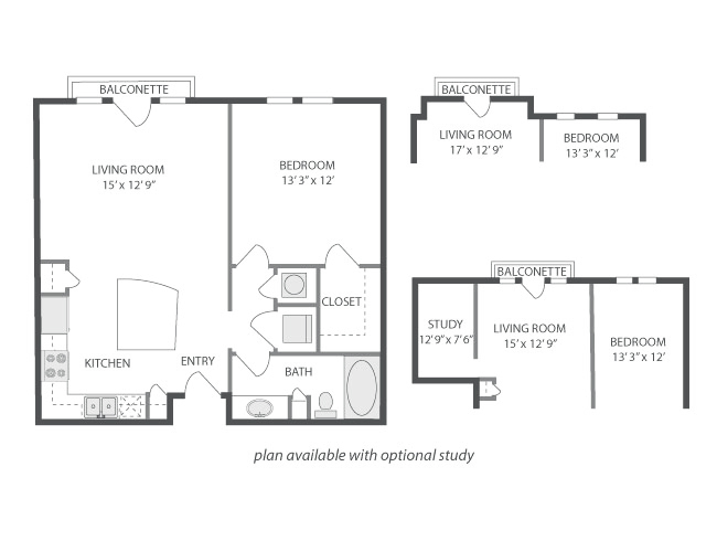 728 sq. ft. to 848 sq. ft. Avalon floor plan