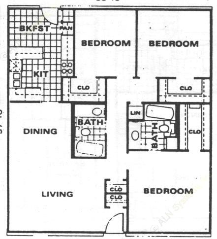 1,280 sq. ft. C1 floor plan