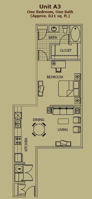 801 sq. ft. A3 floor plan