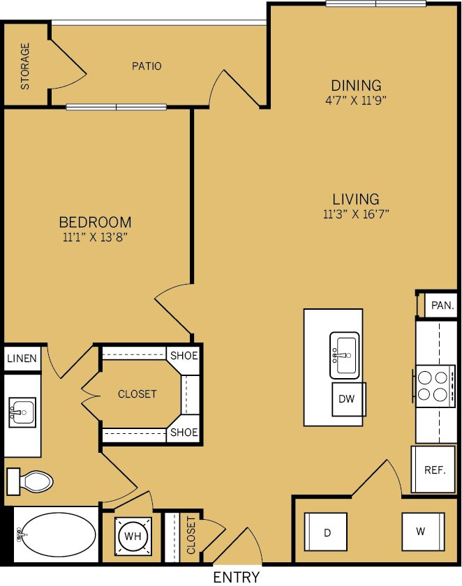 850 sq. ft. A4 floor plan