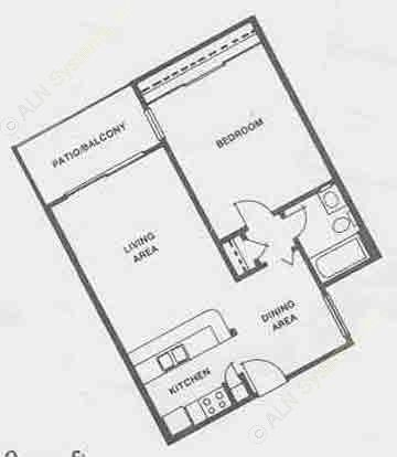 610 sq. ft. A8 floor plan
