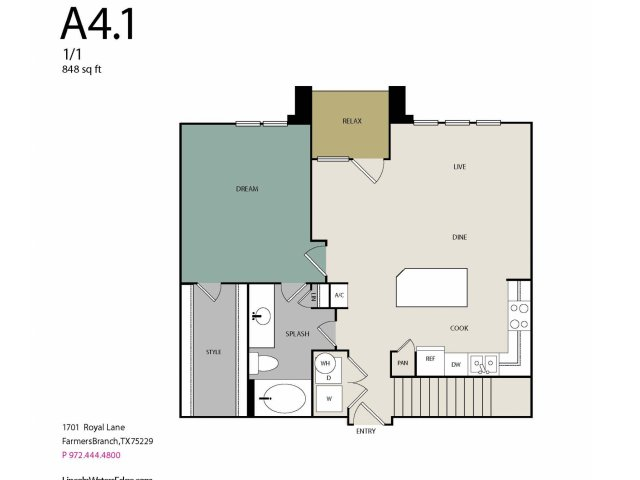 848 sq. ft. to 894 sq. ft. A4G floor plan