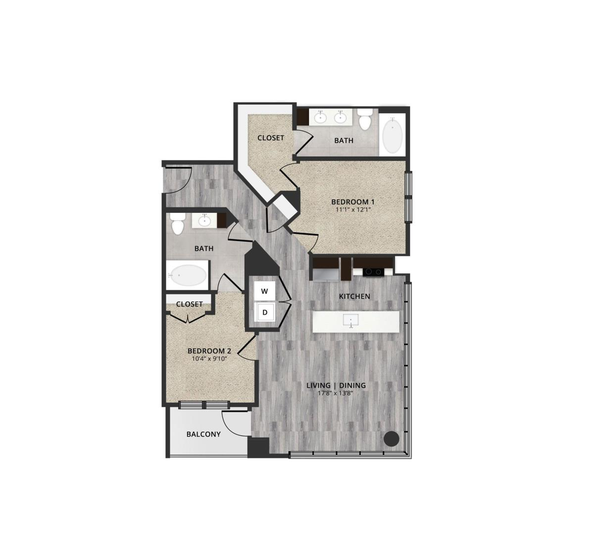 1,156 sq. ft. A1 floor plan