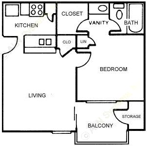 460 sq. ft. Ginger floor plan