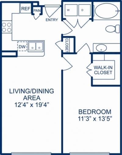 753 sq. ft. CHARLOTTE floor plan