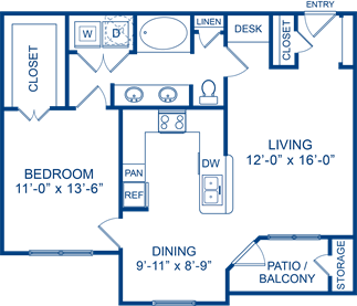 825 sq. ft. Cherry 2 floor plan