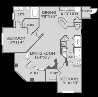 1,137 sq. ft. Newcastle floor plan
