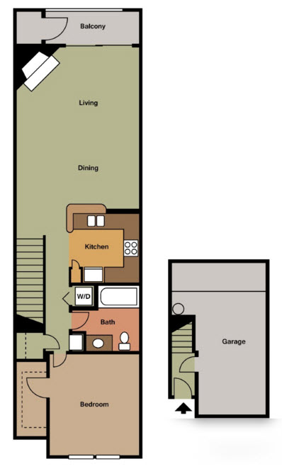 805 sq. ft. B TH floor plan