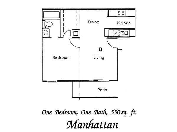 550 sq. ft. Manhattan floor plan