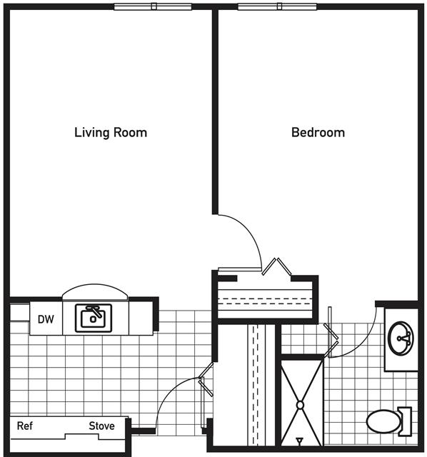 654 sq. ft. ChisholmTrail floor plan
