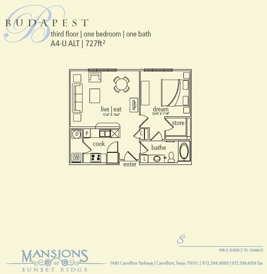 727 sq. ft. Budapest floor plan