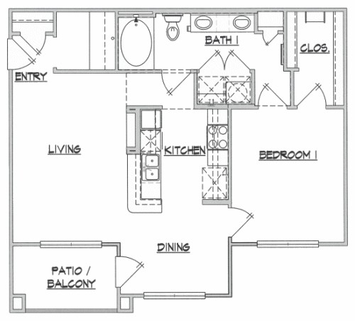 815 sq. ft. A2 floor plan