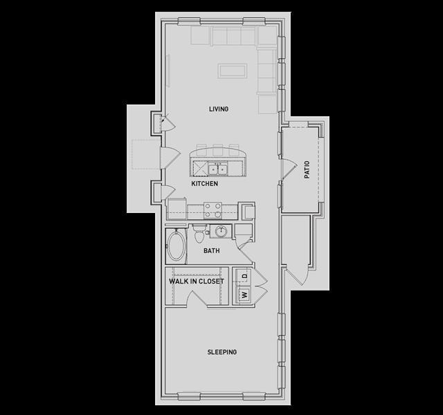 872 sq. ft. AA4 floor plan