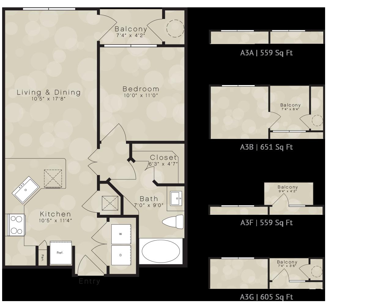 559 sq. ft. A3A floor plan