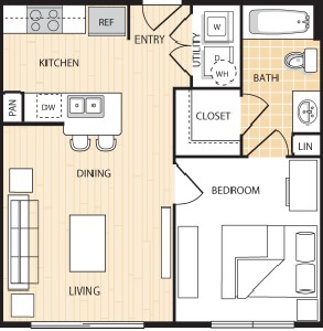 529 sq. ft. A1 floor plan