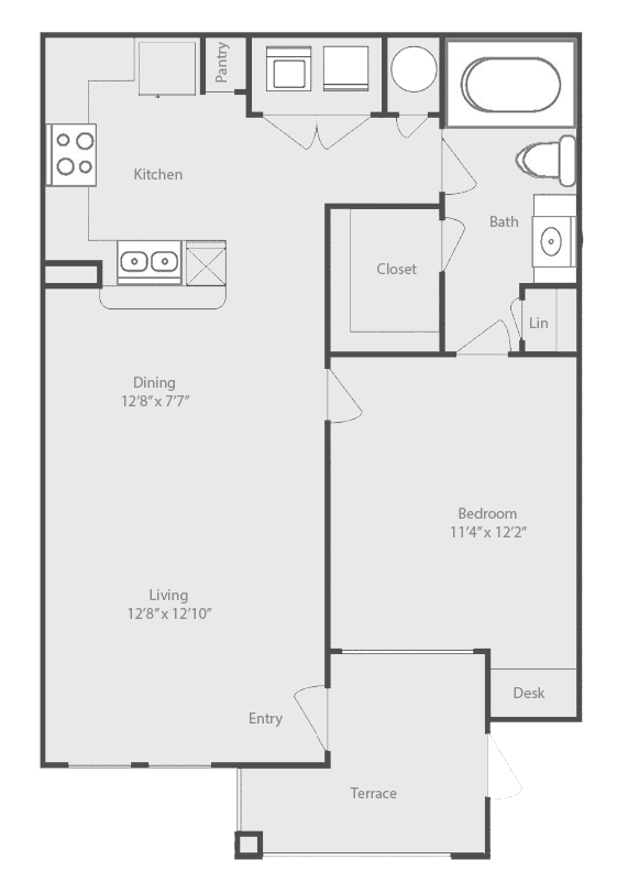716 sq. ft. Brazos floor plan