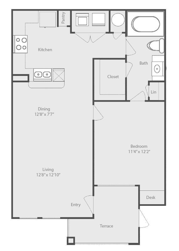 716 sq. ft. Brazos floor plan