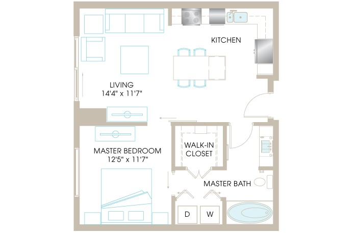 714 sq. ft. A3b floor plan