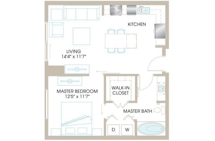 714 sq. ft. A3b floor plan