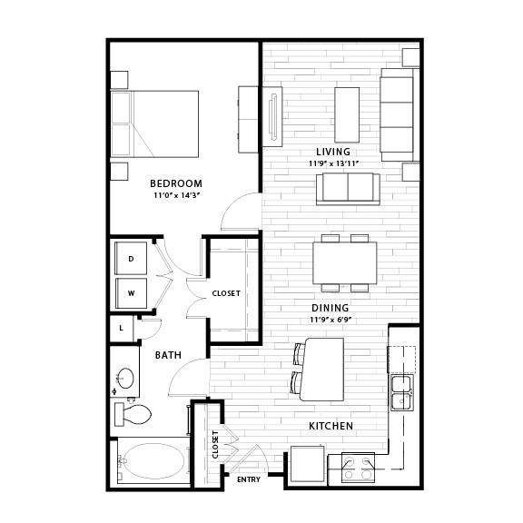 812 sq. ft. A3 floor plan