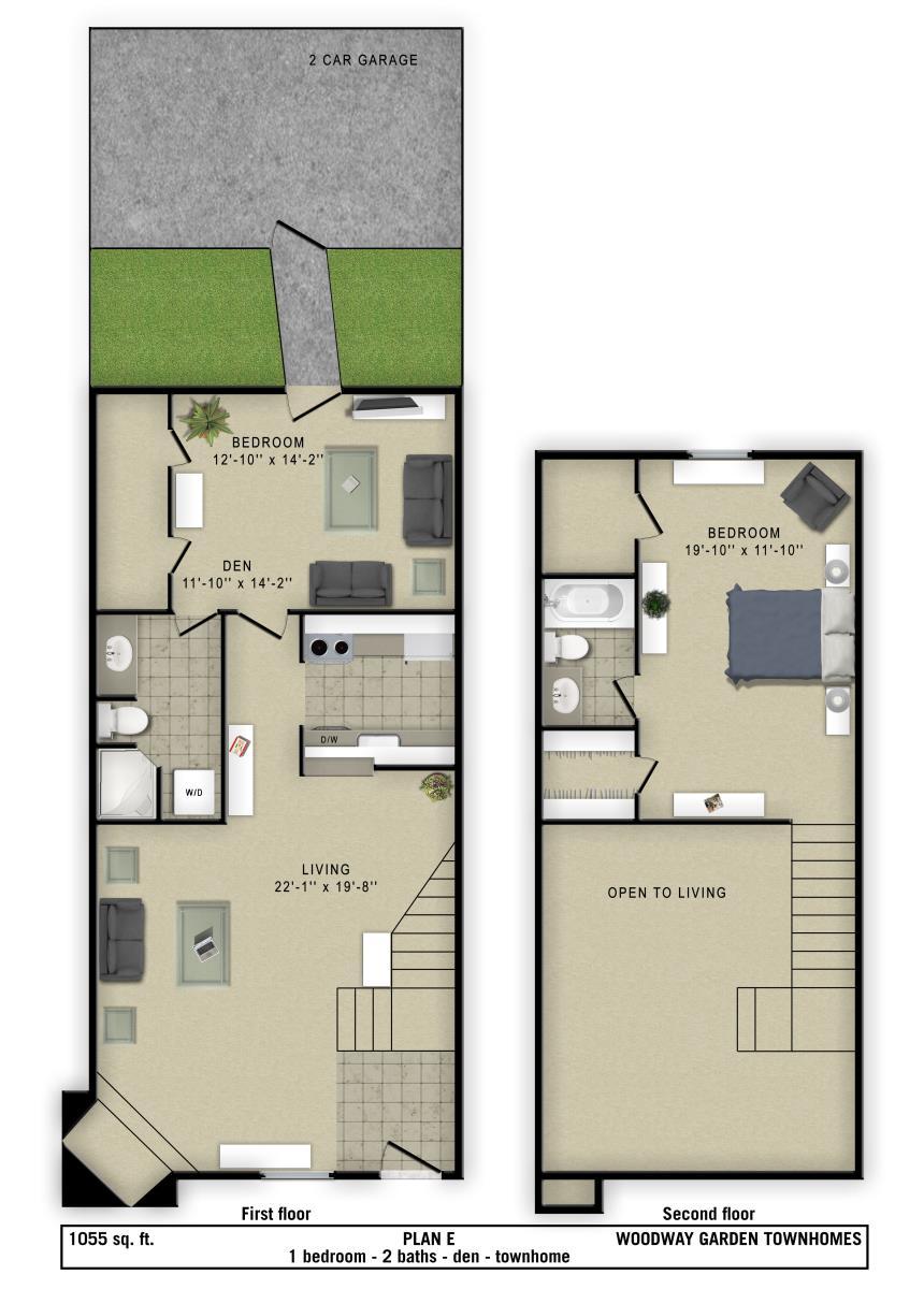 1,055 sq. ft. E floor plan