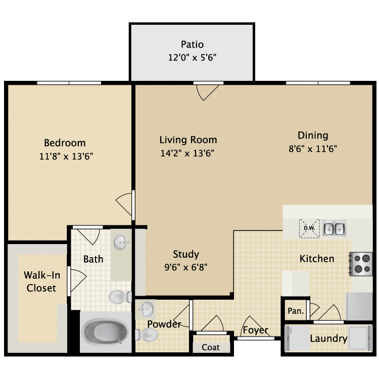 924 sq. ft. II A4 floor plan