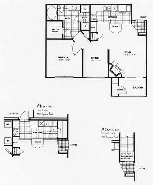 762 sq. ft. A3G floor plan