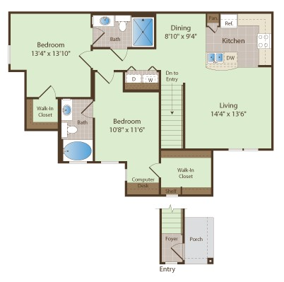 1,134 sq. ft. OWENS floor plan