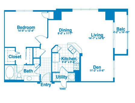 980 sq. ft. AT2A floor plan