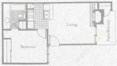 550 sq. ft. 1A1 floor plan