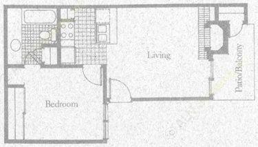 550 sq. ft. 1A1 floor plan
