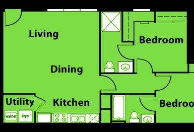840 sq. ft. B1 floor plan