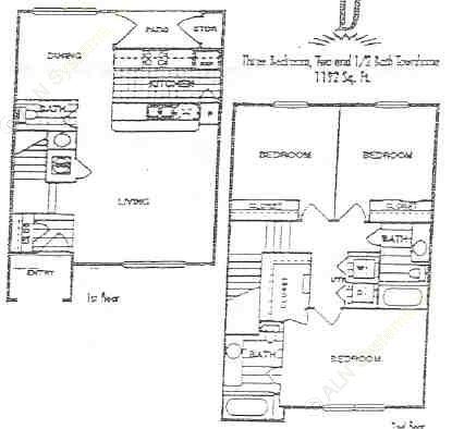 1,192 sq. ft. D floor plan